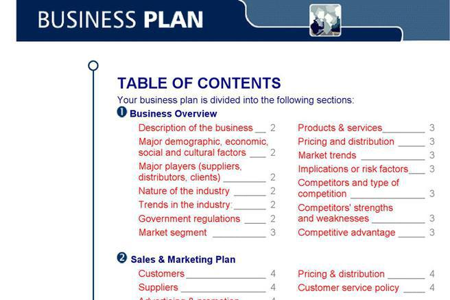 Business plan table of contents template romeondinez business wajeb Choice Image