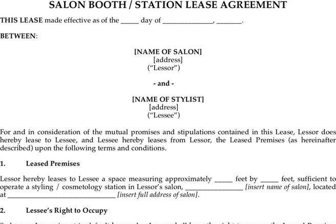 sample booth rental agreement