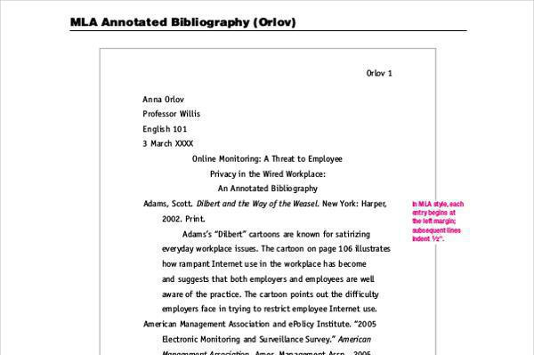 Bibliography mla style examples