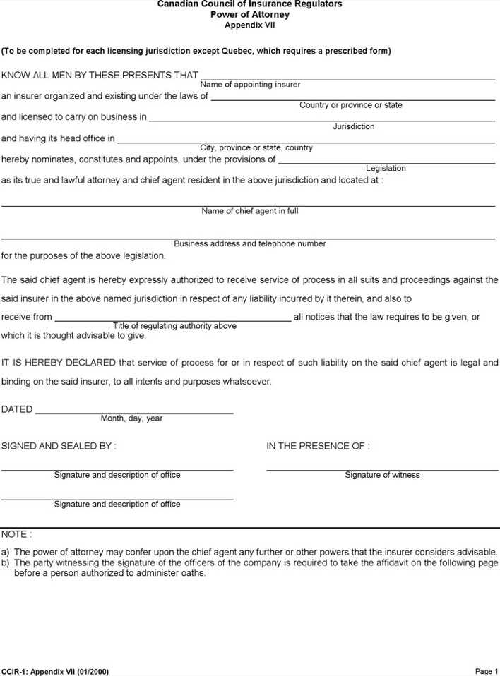 Canadian Power Of Attorney Form Gallery Free Form Design Examples