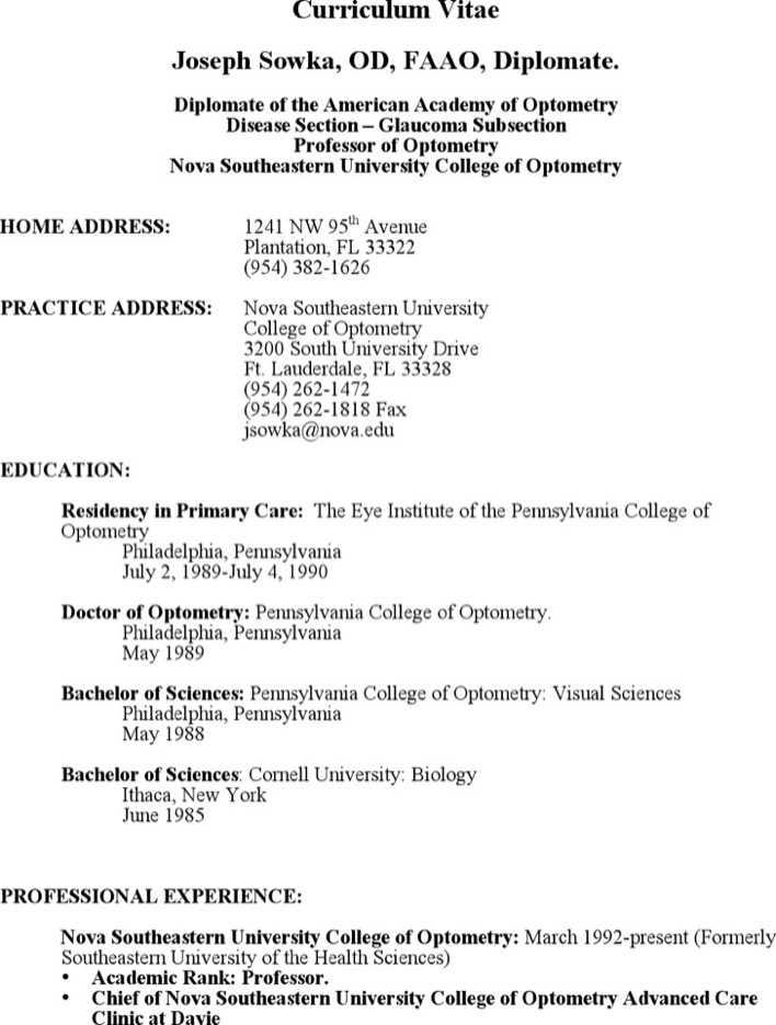 Optometry Sample Resume