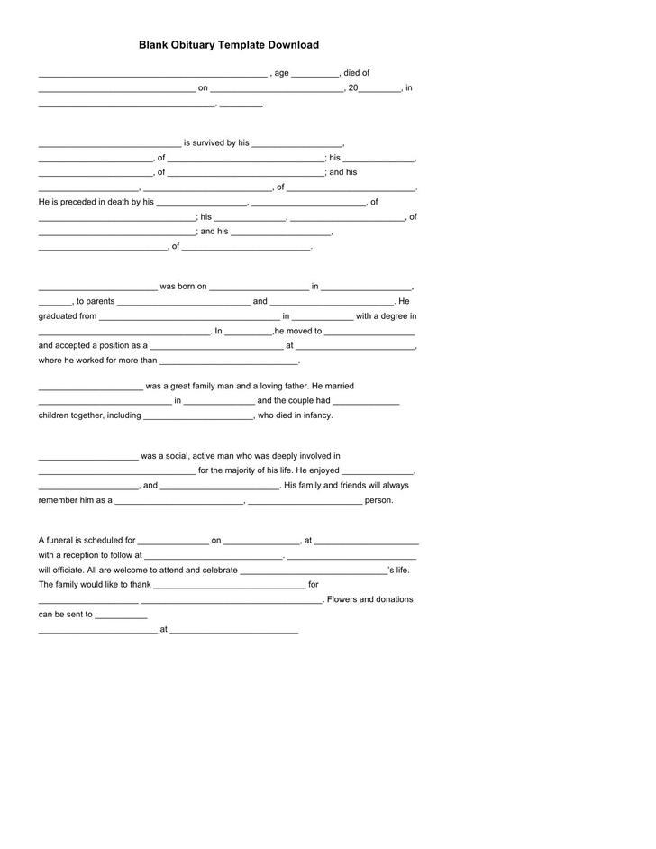 Fantastic Blank Obituary Template Picture Collection - Resume Ideas ...