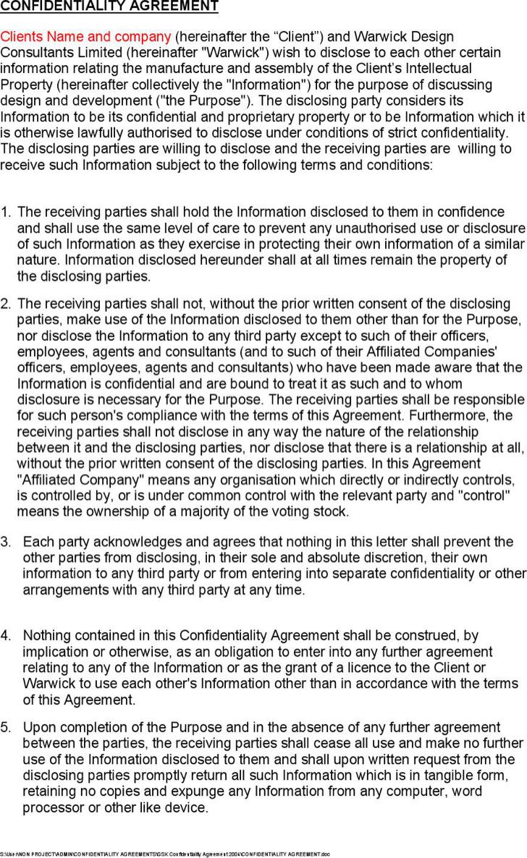 confidentiality agreement template | trattorialeondoro