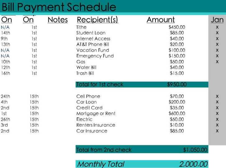 Pay Schedule Template Novaondafm