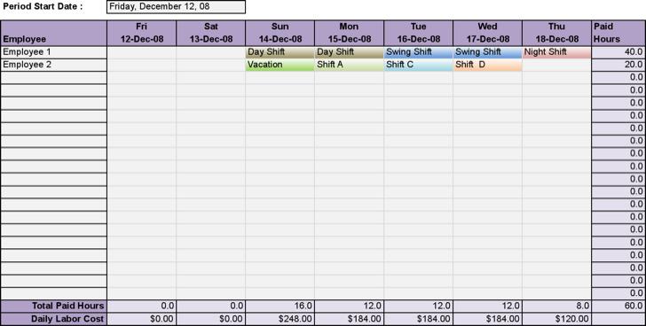Employee Work Schedule Excel Technologybusiness