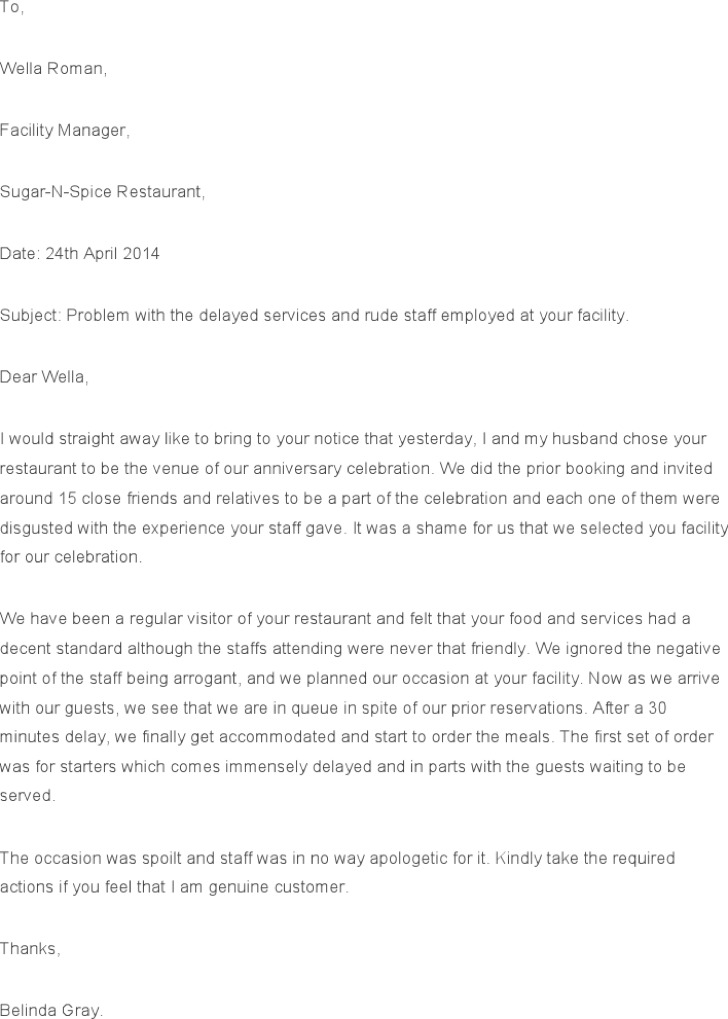 14 restaurant and hotel complaint letter templates free oukasfo sample of complaint letter letter of recommendation spiritdancerdesigns Images
