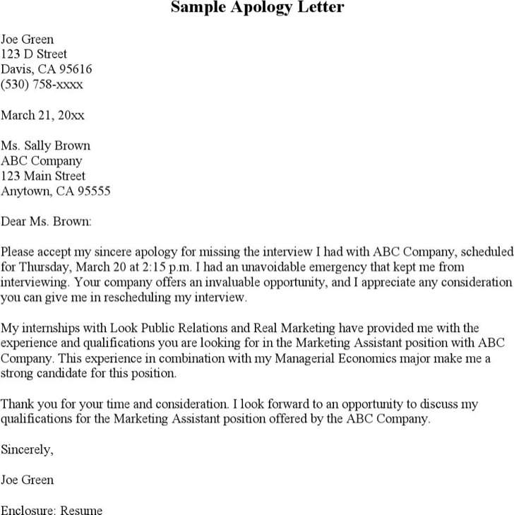 Free sample how to write an apology letter Resume to get hired