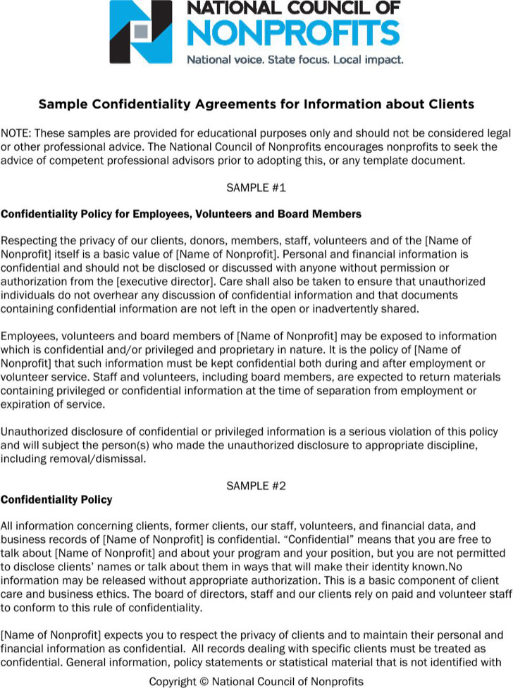 Sample Client Confidentiality Agreements