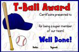 T-Ball Certificate Templates