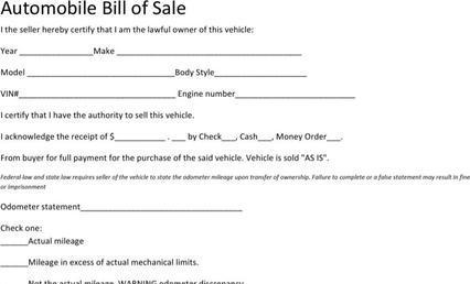 Bill of Sale Templates