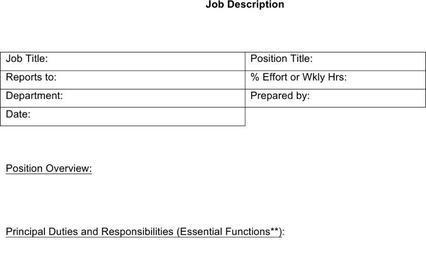Sample HR Job Description Templates