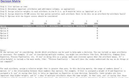 Excel Matrix Templates