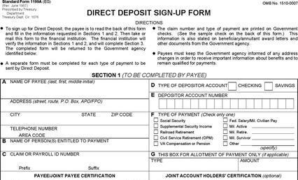 Social Security Form – Social Security Direct Deposit Form