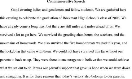 Doc580600 Tribute Speech Examples Sample Tribute Speech – Commemorative Speech Examples