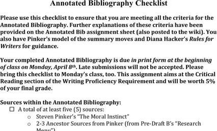 Simple Annotated Bibliography Templates