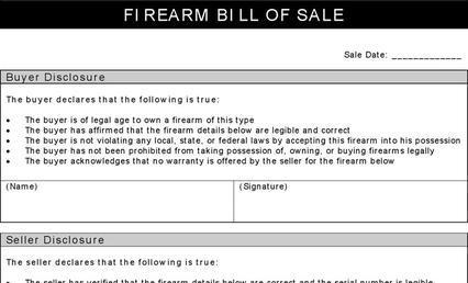 Firearm Bill of Sale Form