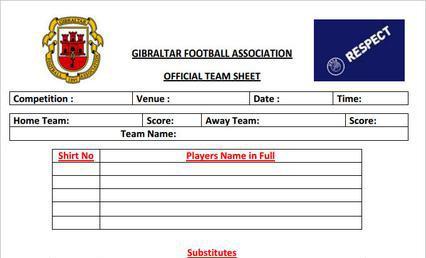 football team sheet template download