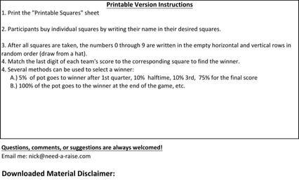 Sample Super Bowl Squares Template