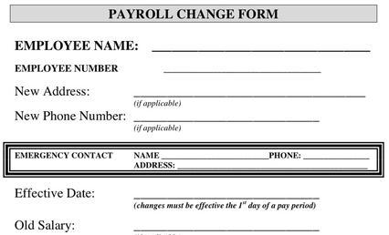 payroll change notice form template - employee form download free premium templates forms