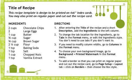recipe cards template word