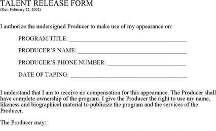 Survey Template – Sample Talent Release Form