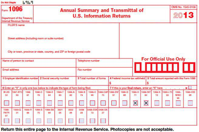 Irs Form 1096 Template Rule Of Law