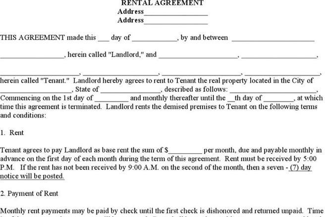 12 Blank Rental Agreement Templates Free Download