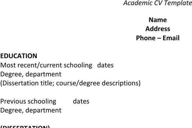 Academic Cv Template  Download Free  Premium Templates Forms