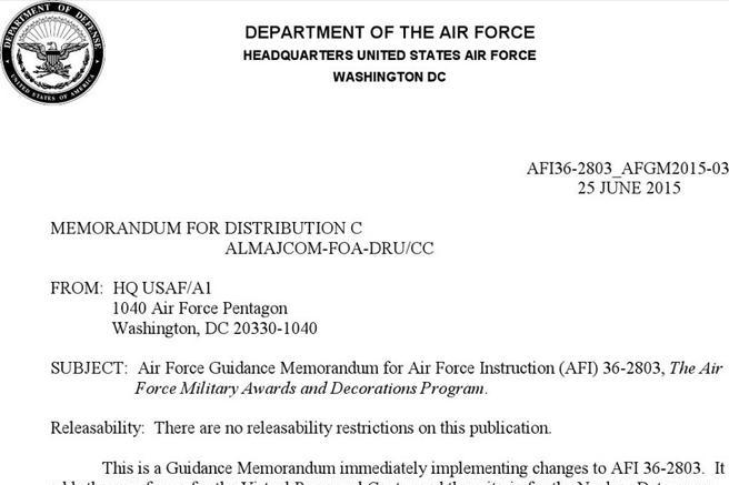 Air force awards and decorations abbreviations for Air force decoration examples