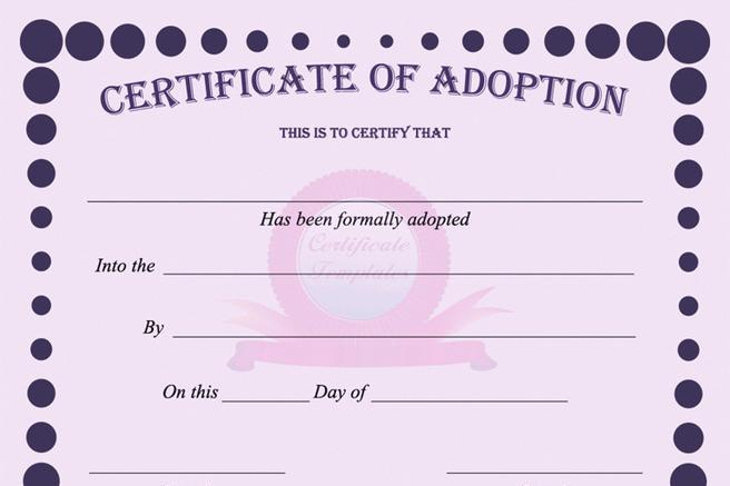 Attractive Adoption Certificate | Download Free U0026 Premium Templates, Forms
