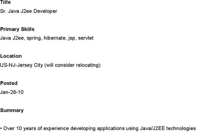 Sample Resume Of Java Architect Domov Entry Level Java Developer  Entry Level Java Developer Resume