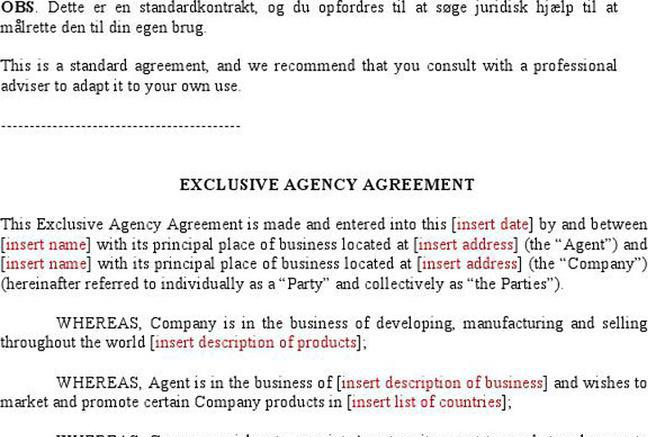 Business Agency Agreement Template Picture Of Usa Business Agency