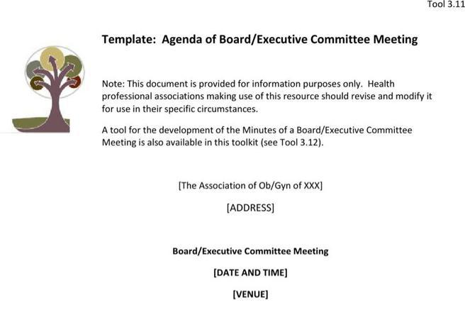 Sample Board Meeting Agenda Templates