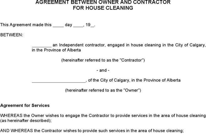 Cleaning Services Contract Template Cleaning Service Agreement