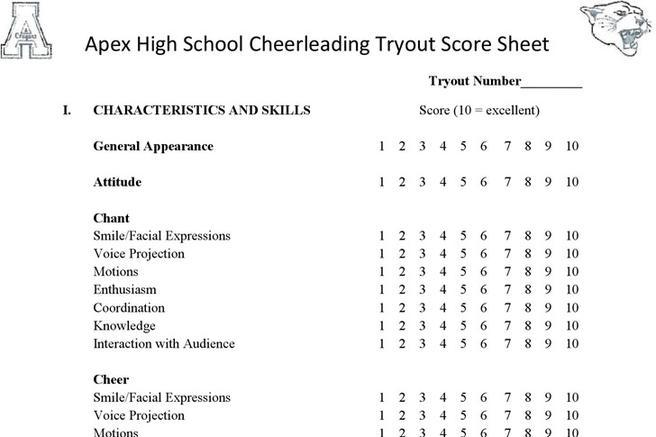 Score Sheet – Cheerleading Tryout Score Sheet