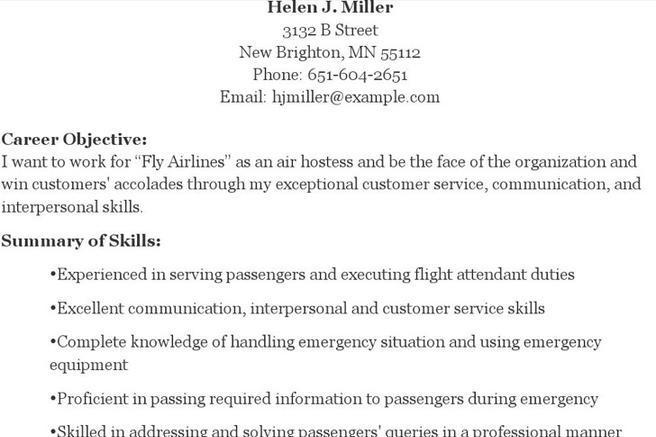 hostess resume template