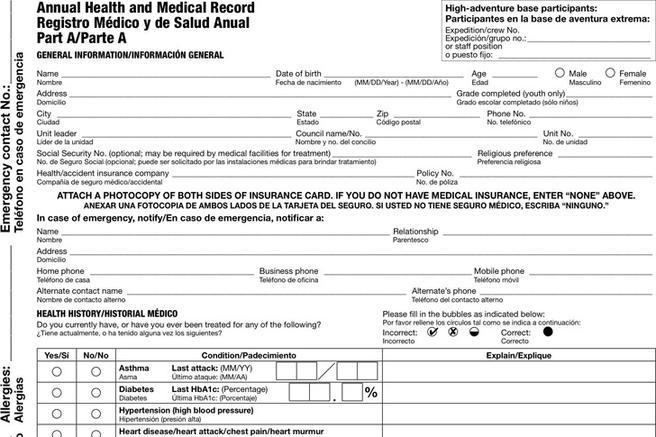 bsa medical forms