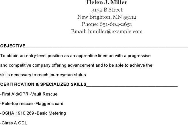 electrician resume templates lineman resume templates