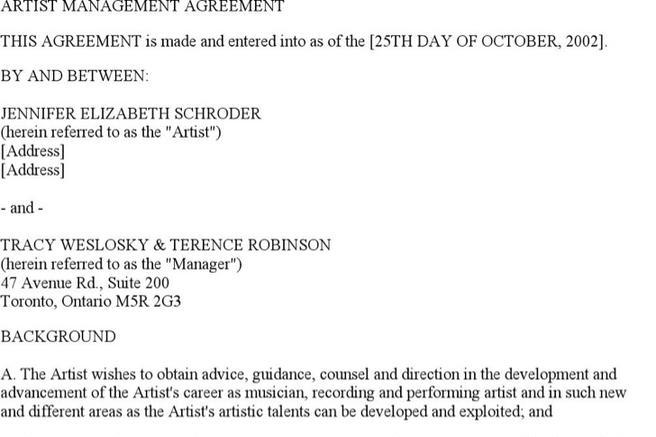 Artist Contract Template Band Performance Contract Template Success