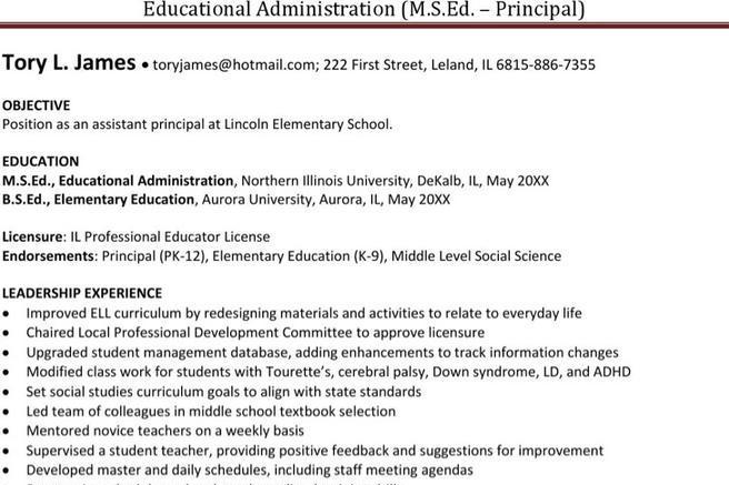 school vice principal resume