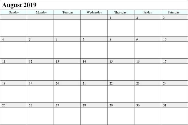 Image result for august 2019 calendar