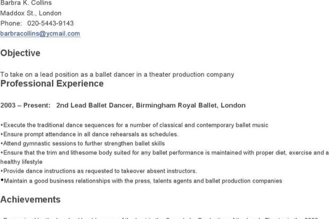 ballet dancer resumes