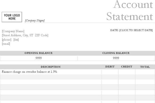 Bank Statement Template