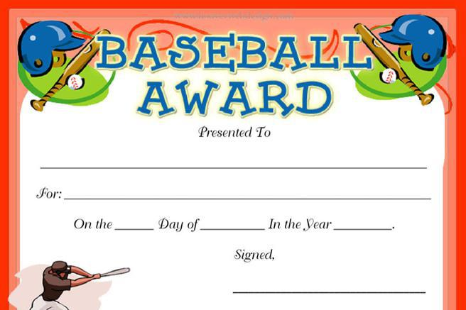 Certificate template download free premium templates forms samples for jpeg png pdf for Baseball certificate ideas