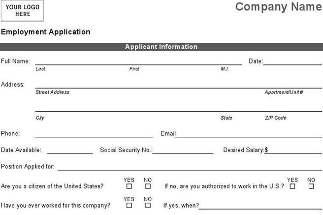 Job Application Form – Basic Employment Application