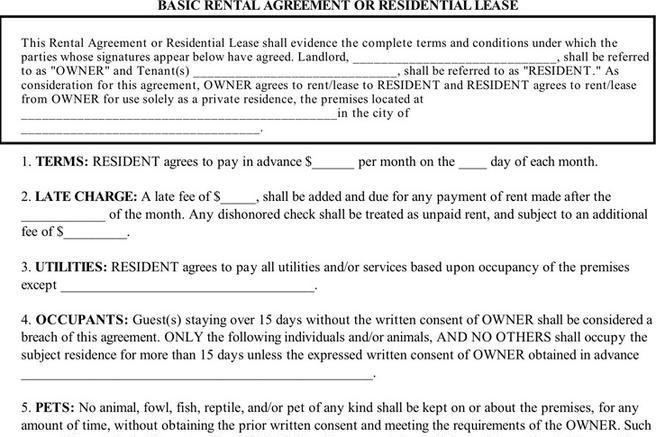Basic Rental Agreements Sample Hold Harmless Agreement Form