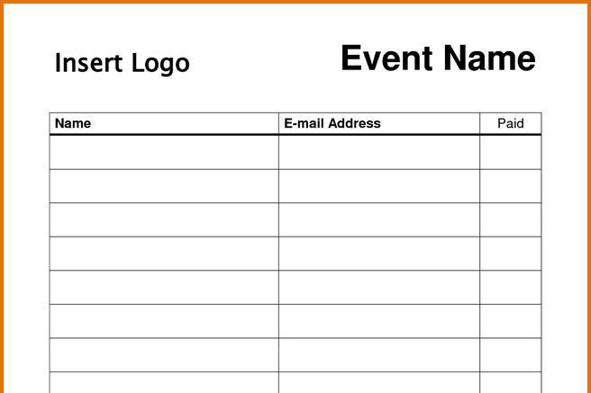Sign In Sheet Template – Sign in Sheet Templates