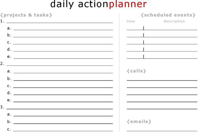 Daily Action Planner Templates – Daily Action Plan Template