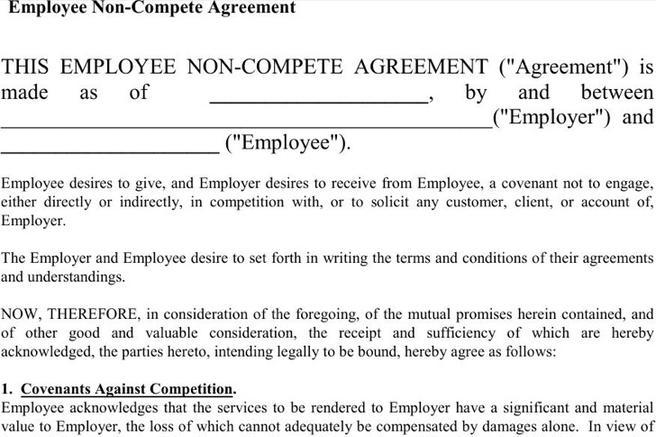 Rental Lease Agreement · Sample Non Compete Agreement Forms