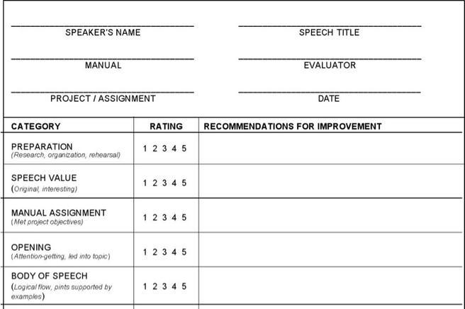 generic evaluation form